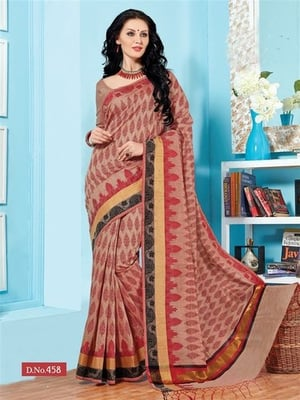 Red Fancy Cotton Printed Saree With Blouse Fabric