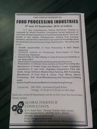 2 Day Worshop On Food Processing Services