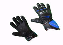 Black Blue Motorcycle Riding Gloves