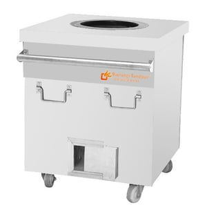 Stainless Steel Square Tandoor With Wooden Top Gas Charcoal