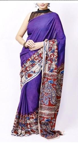 Violet Kalamkari Handloom Cotton Saree