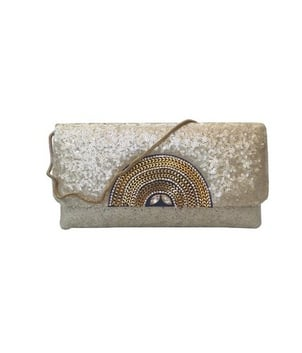 Sequinned Raw Silk Clutch with Eclectic Brooch Blue Ladies Handbag