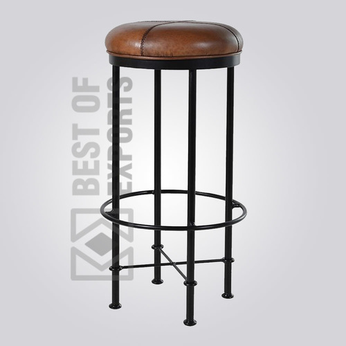 Vintage Round Bar Stool With Leather Seat