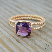 Silver Plated Amethyst Rings