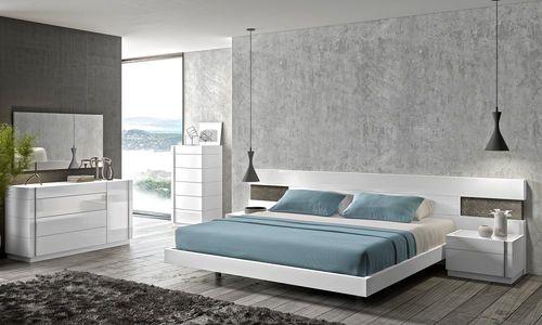 Elegant Design Amora Natural White Lacquer 5Pcs Queen Size Bedroom Set