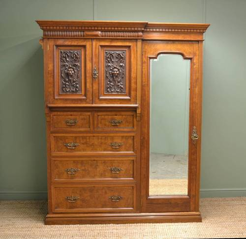 Magnificent 'Burr' Pollard Oak Arts & Crafts Antique Wardrobe