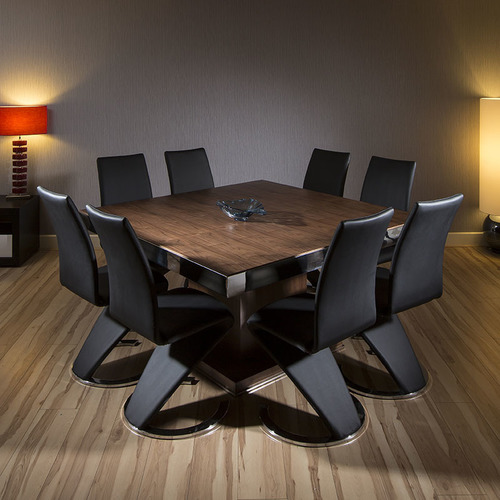Quatropi Large Square Dining Set Walnut Table 8 High Back Black Chairs