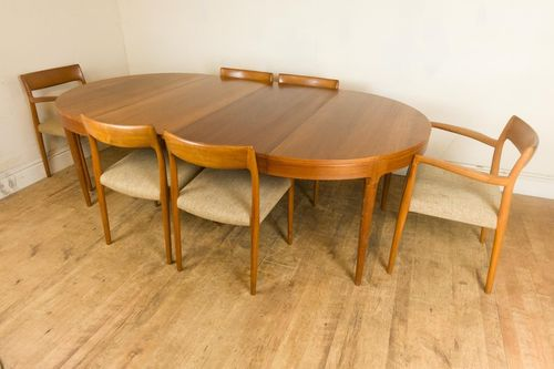 Vintage Retro Teak J L Moller Dining Table and 6 Model 77 Chairs