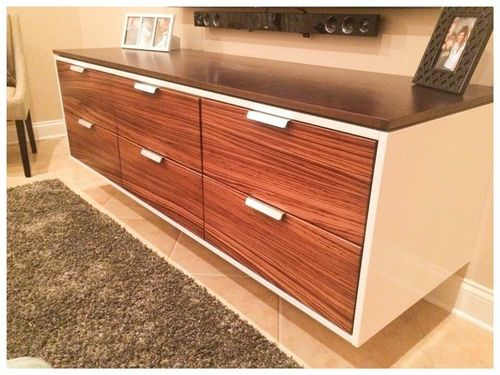 """72"""" Floating Zebrawood Entertainment Center and Vanity Cabinet"""