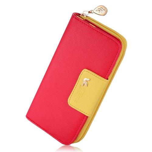 Ladies Multi-card Position Two Fold Long Zipper Wallet