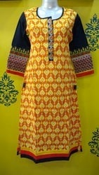 Colorful Cotton Kurti with Embroidered Sleeves