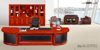 Luxury Design Extensive Leather Using Wood Solid Office Table