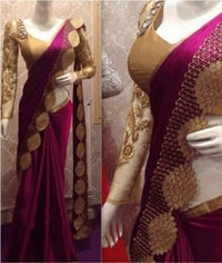 New Violet Nylon Silk Designer Saree