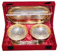 Silver Metal Double Bowl Set with Tray and Spoon