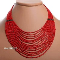 Red / Bronze Seed Beaded Necklaces