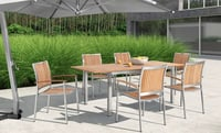 Stainless Steel & Teak Outdoor Table Chair