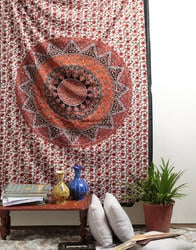 Mandala Orange Printed Decorative Wall Hanging Tapestry Wall Decor