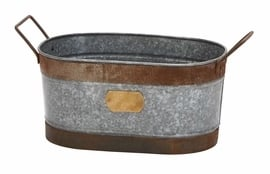 Galvanized Metal Oval Wine Tub With Handle