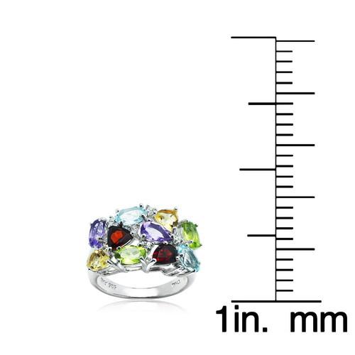 Multi Color Gem Stones Silver Ring