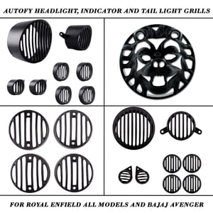Autofy Headlight Indicator And Tail Light Metal And Plastic Grills