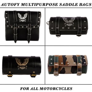Autofy Motorcycle Multipurpose Faux Leather And Canvas Saddle Bags