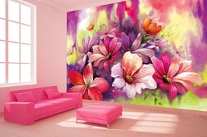 Floral Wallpaper With Fine Art Watercolor Painted