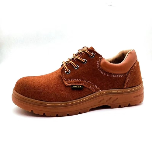 Brown Leather Upper Pu Outsole Safety Shoes