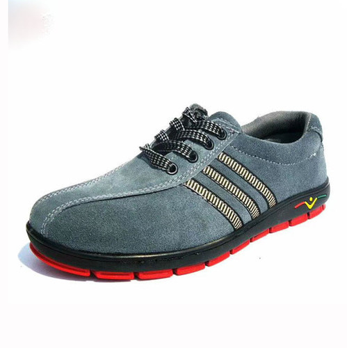 Grey/Red Suede Leather Upper Rubber Outsole Anti-Static Safety Work Shoes