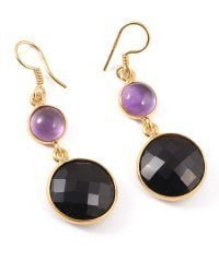 Amethyst Stone And Black Onyx Silver Gold Plated Earrings