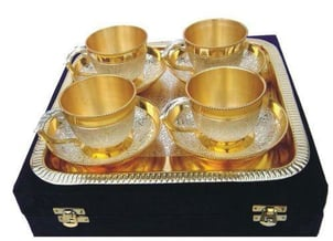 Silver Plated Six Tea Cup Set
