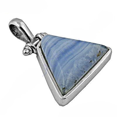 925 Sterling Silver Triangle Blue Lace Agate Pendant
