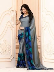 Grey Color Stylish Designer Printed Party Wear Fox Georgette Sarees