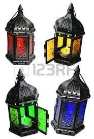 Designer Iron and Glass Lantern