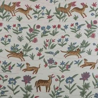 Animal Hand Embroidered Floral Cotton Crewel Fabric