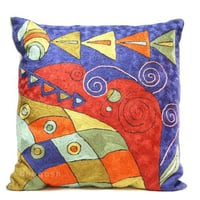 Kashmir Hand Embroidered Vintage Modern Art Crewel Silk Cushion Cover