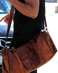 Brown Medium Size Leather Luggage Bag 24