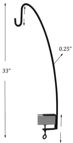 Black Metal Deck Hook Dimensions: 33 X 10.5 X 0.5 Inch (In)