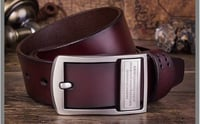 Men Genuine Leather Pin Belt with Buckle