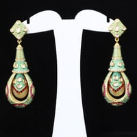 Brass Engagement Stylish Kundan Earrings