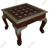 Exotic Brass And Wood Coffee Table