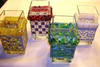 Colored Mosaic Glass Vases