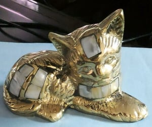 Brass Decorative Cat With Mop