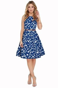 Women Blue Dress With White Box Dot