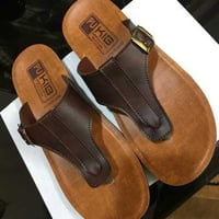 Brown Color PU Mens Slippers