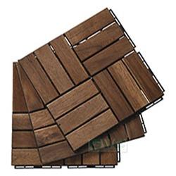 12-Slat Wood Deck Tile