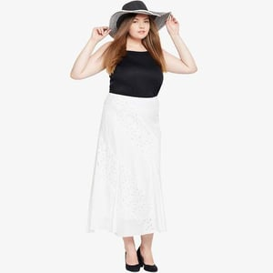 Plus Size White Casual Skirt