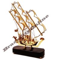Brass Pirate Ship Model with Wooden Base