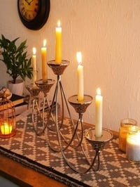 White Metal Victorian Metal Candle Stand