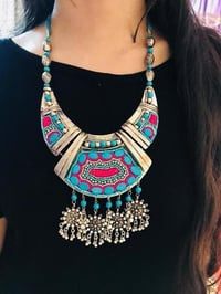 Blue Bead Embroidered Antique Silver Neck Piece