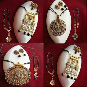 Latest Mangalsutra Pedant Set With Earring And Bracelet